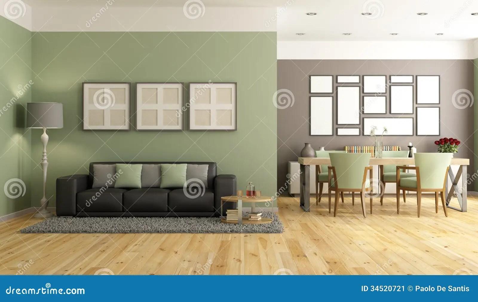 Salotto Moderno Verde E Marrone Illustrazione di Stock  Immagine 34520721