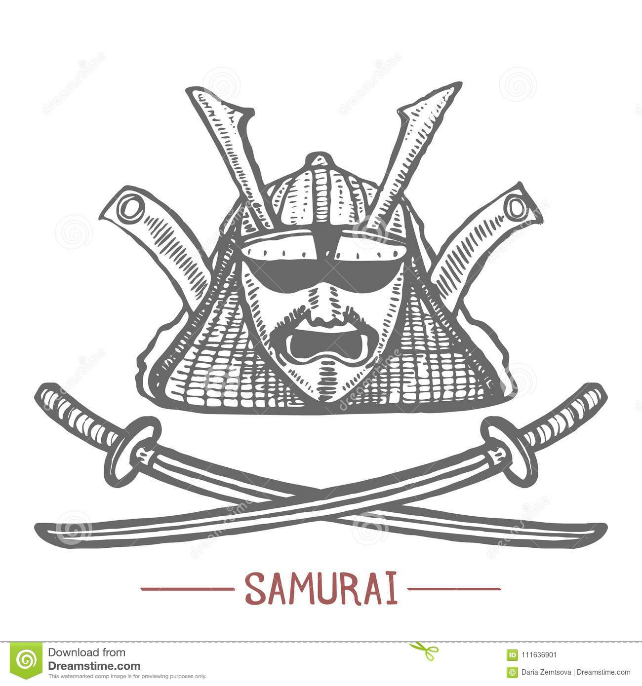 Samurai Mask And Swords In Hand Drawn Style Stock Vector