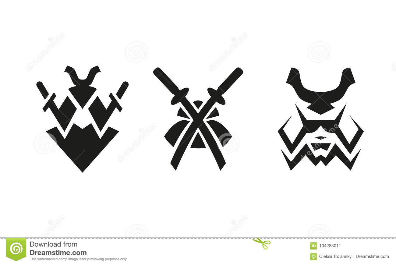 Samurai And Swords Abstract Black And White Logo Set