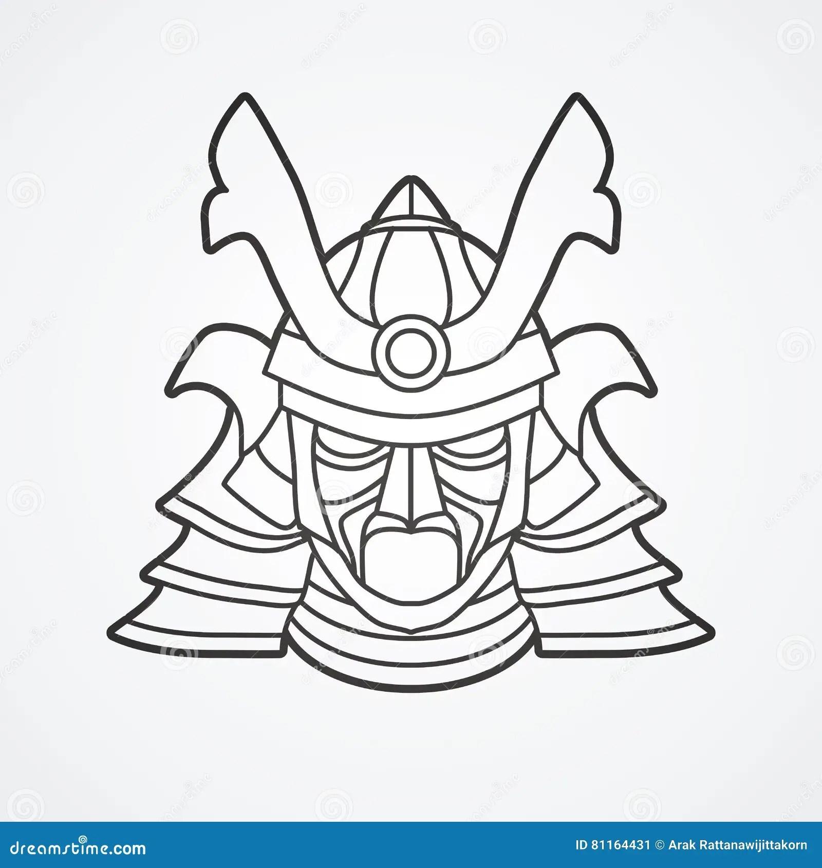 Samurai Warrior Mask Stock Vector Image Of Line Helmet