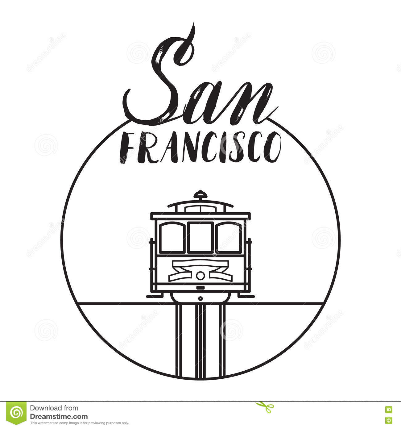 San Francisco Illustration With Modern Lettering And Cable
