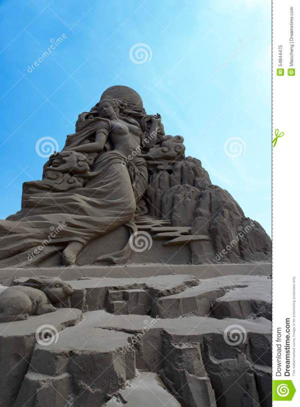 Sand Sculpture Of Chinese Moon Goddess Chang Stock