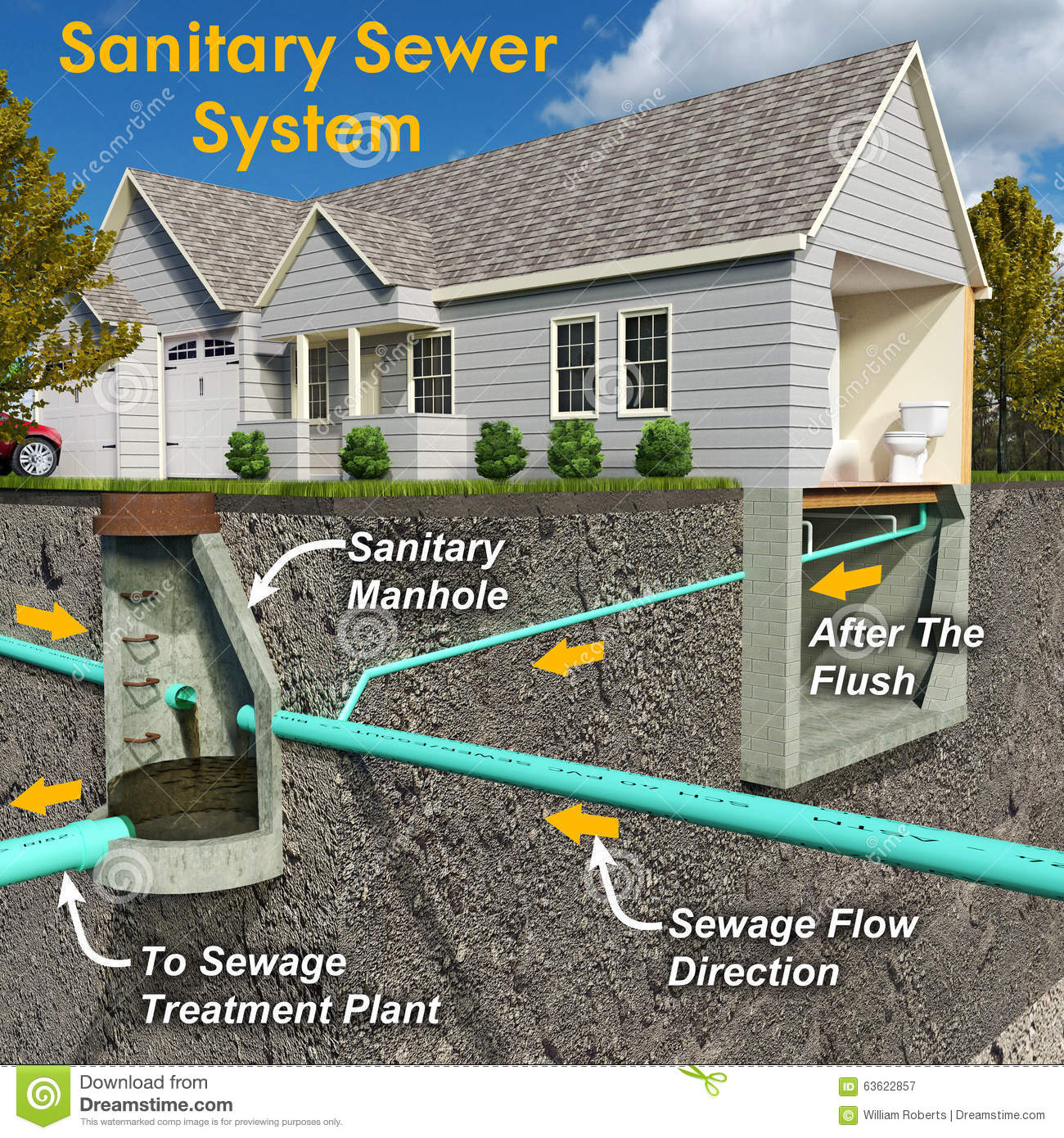 hight resolution of sanitary system diagram with text