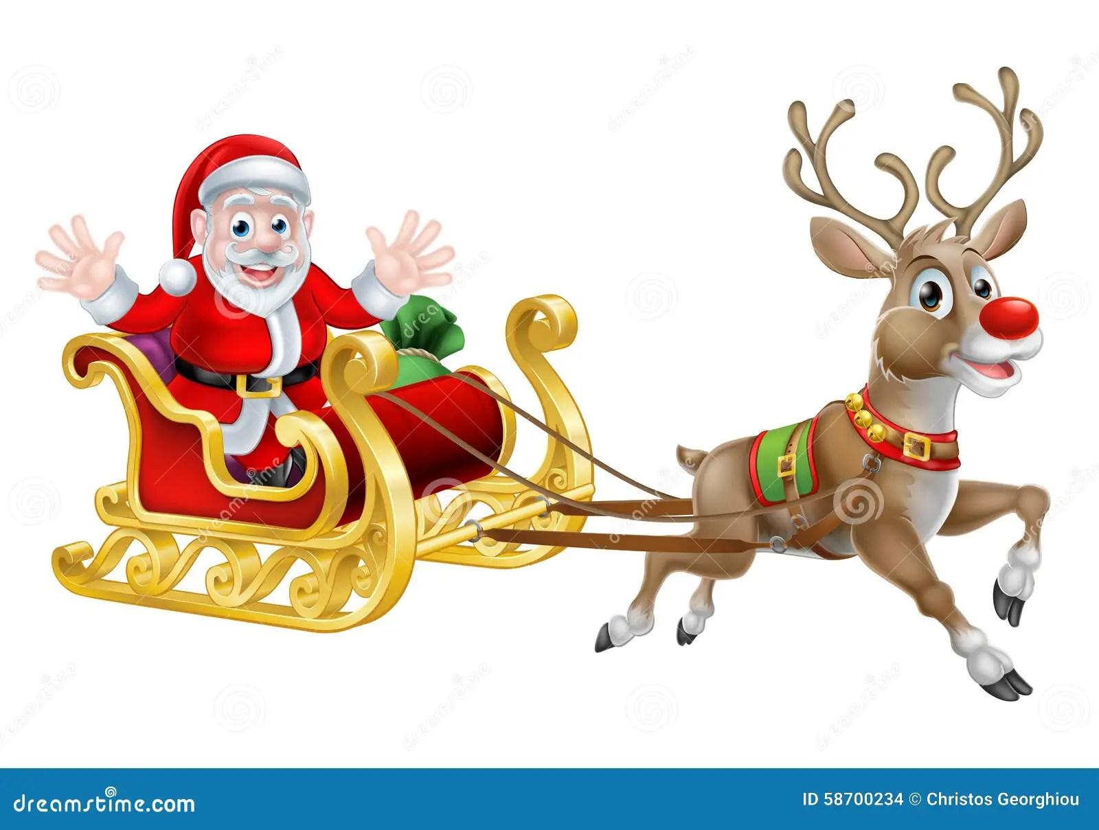 Santa Christmas Sleigh Stock Vector