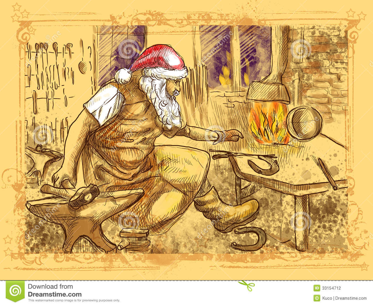 Santa Claus Blacksmith Stock Illustration Illustration