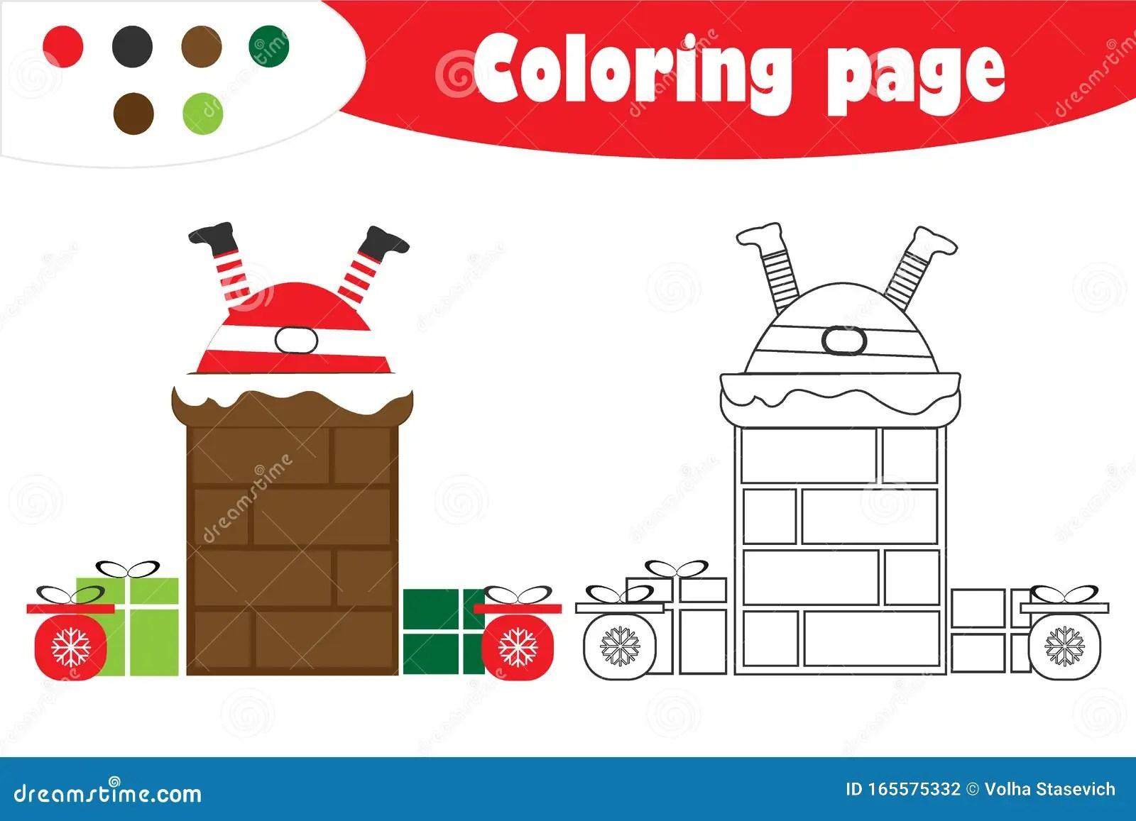 Santa Claus In Chimney In Cartoon Style Christmas