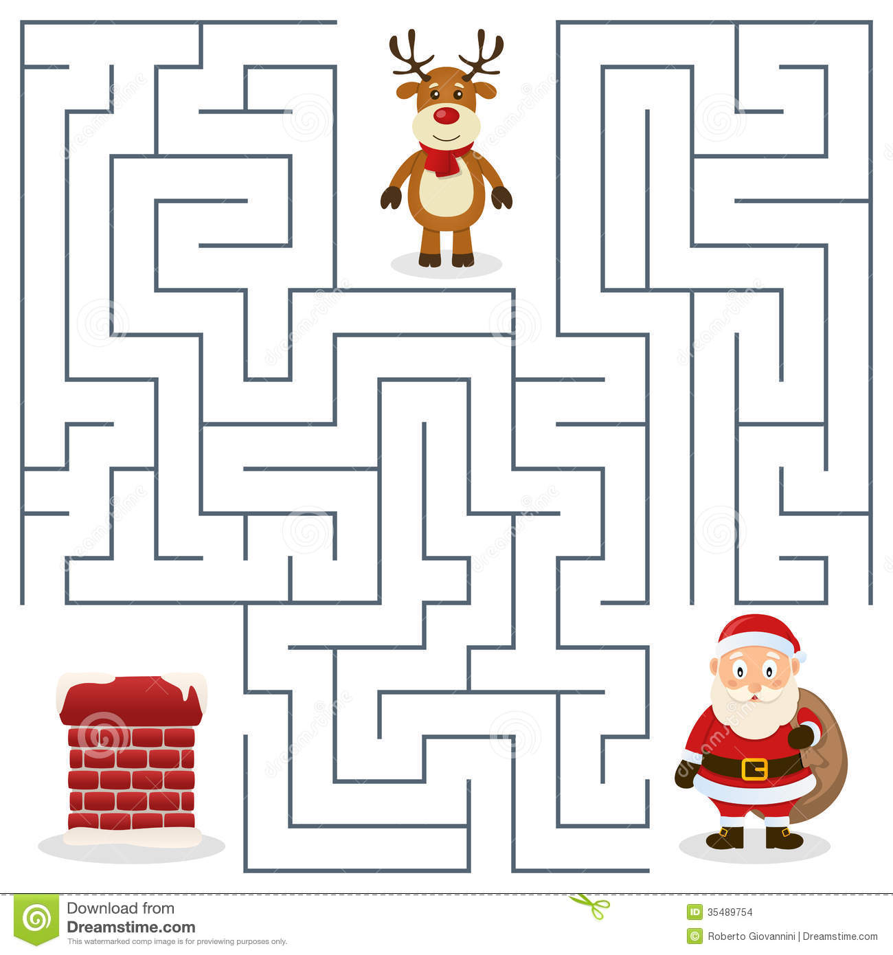 Santa Claus Amp Chimney Maze For Kids Stock Images
