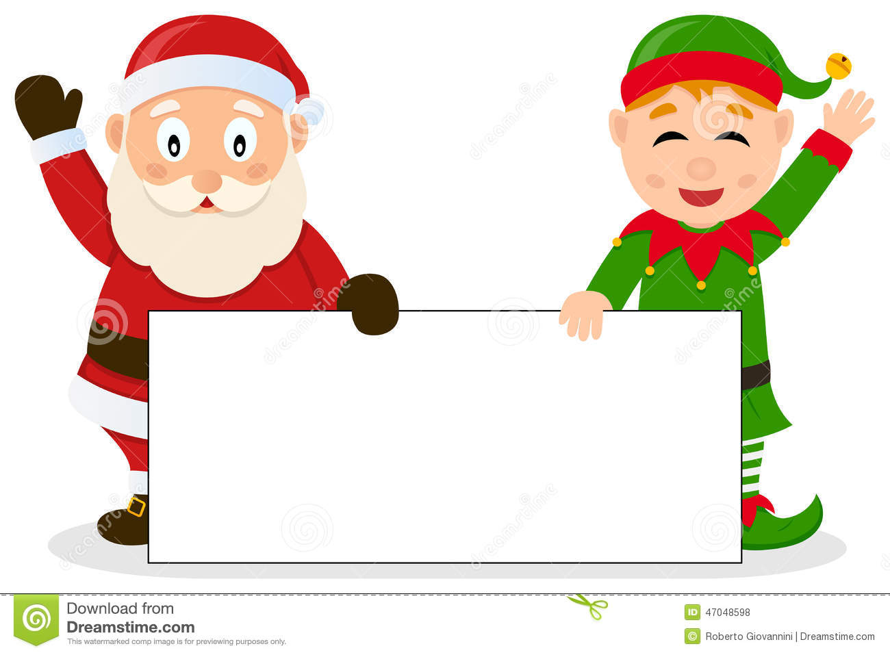 Santa Claus Amp Christmas Elf With Banner Stock Vector