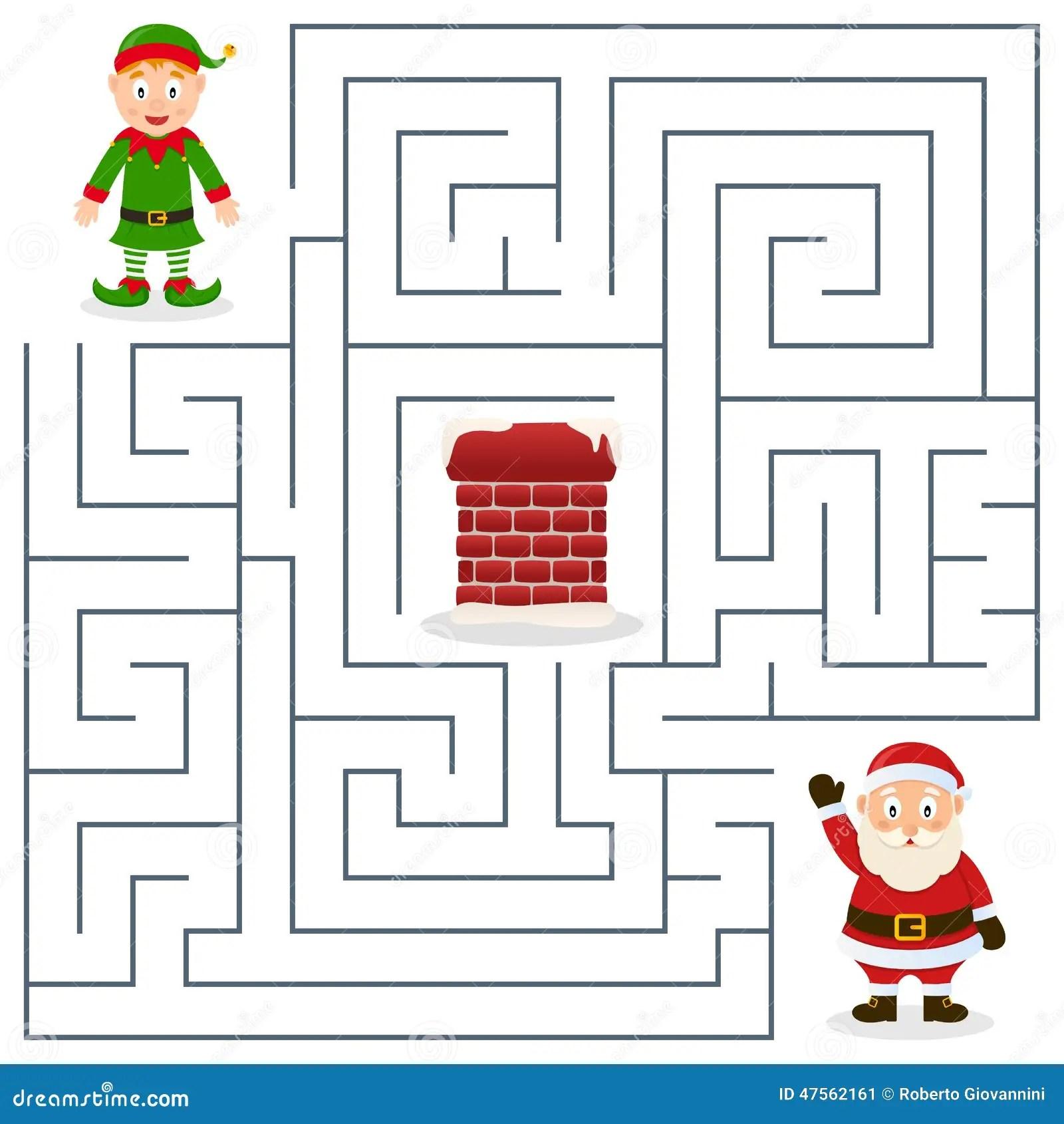 Santa Claus Amp Christmas Elf Maze For Kids Stock Vector