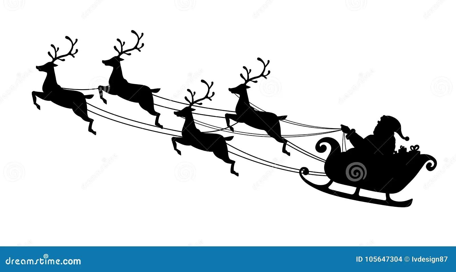 Santa Claus Flying With Reindeer Sleigh Black Silhouette