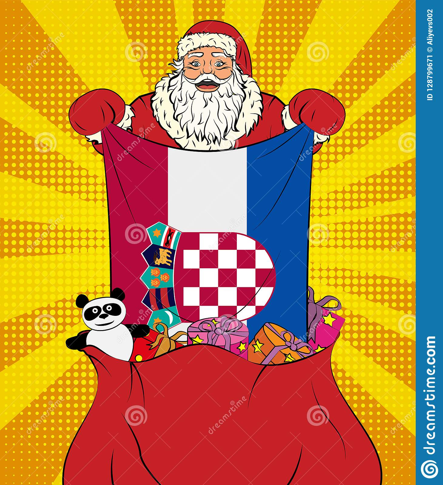 Santa Claus Gets National Flag Of Croatia Out Of The Bag