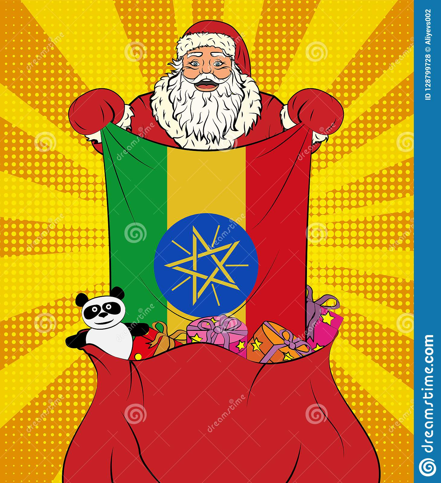 Santa Claus Gets National Flag Of Ethiopia Out Of The Bag