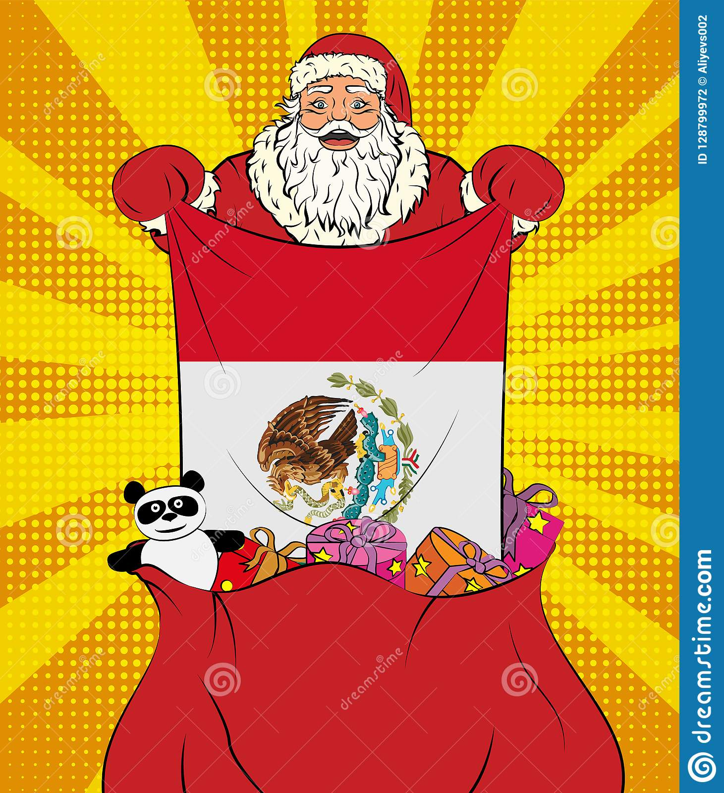 Santa Claus Gets National Flag Of Mexico Out Of The Bag