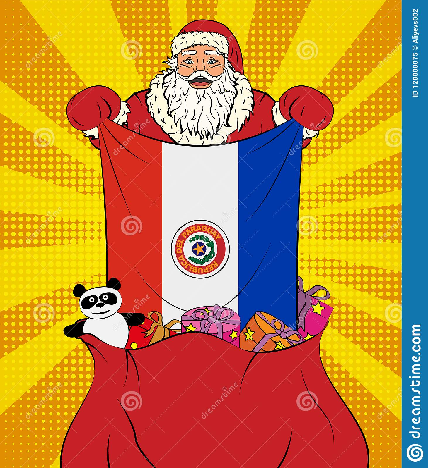 Santa Claus Gets National Flag Of Paraguay Out Of The Bag