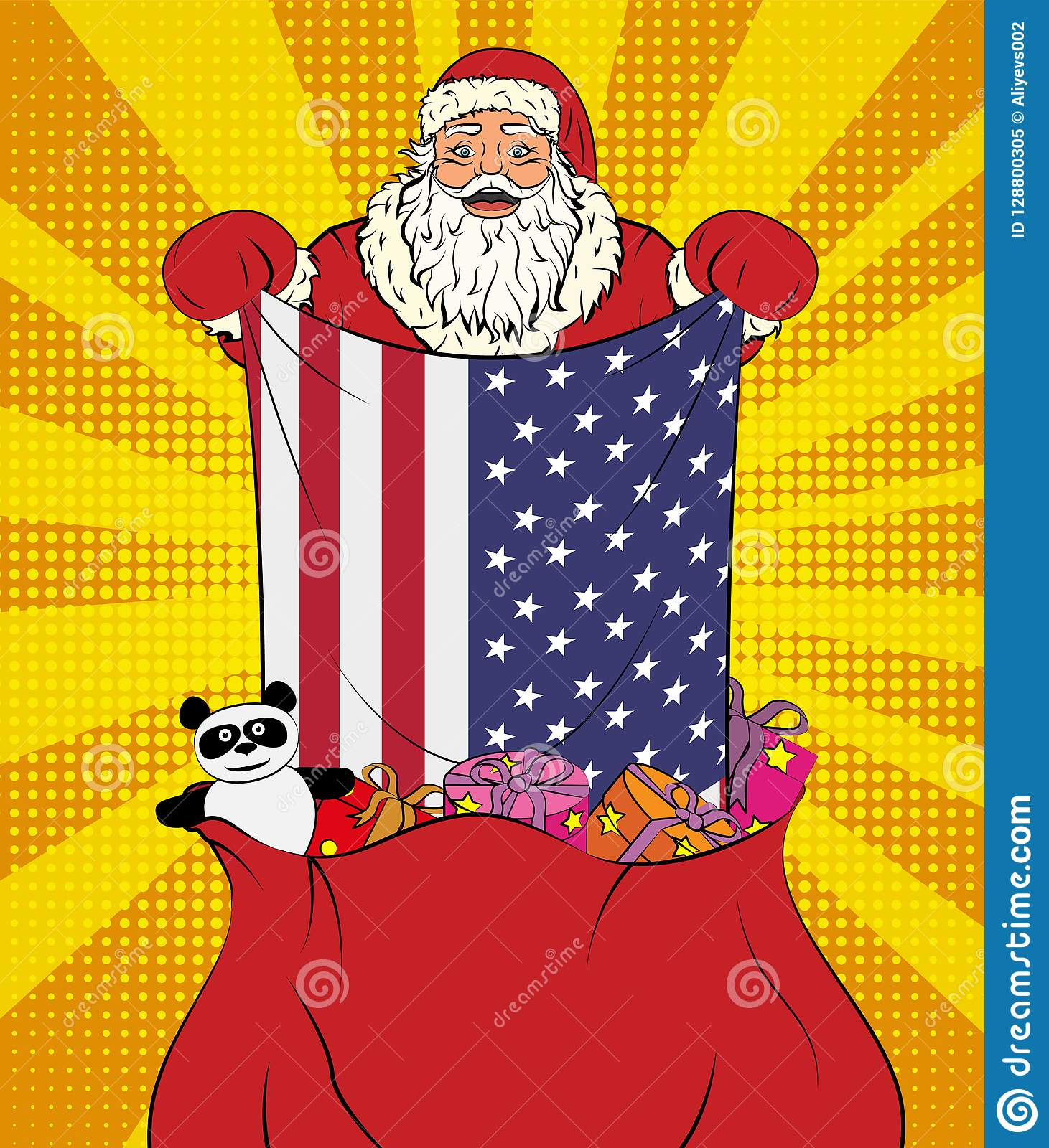 Santa Claus Gets National Flag Of Usa Out Of The Bag With