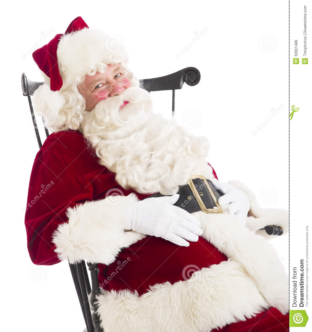 santa claus chair gray outdoor covers with hands on stomach sitting stock