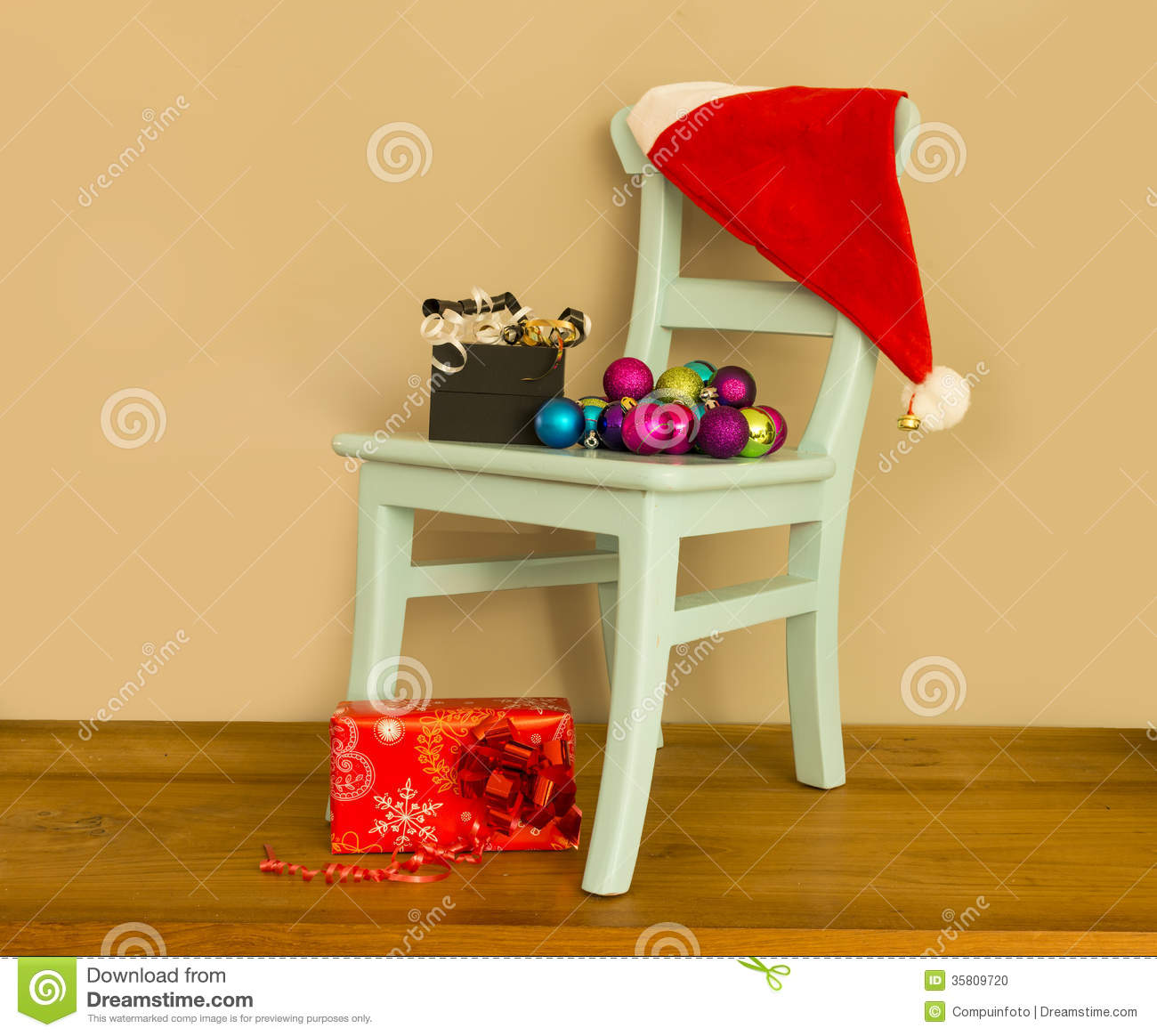 santa claus chair swivel for shower hat on with presents stock photo image