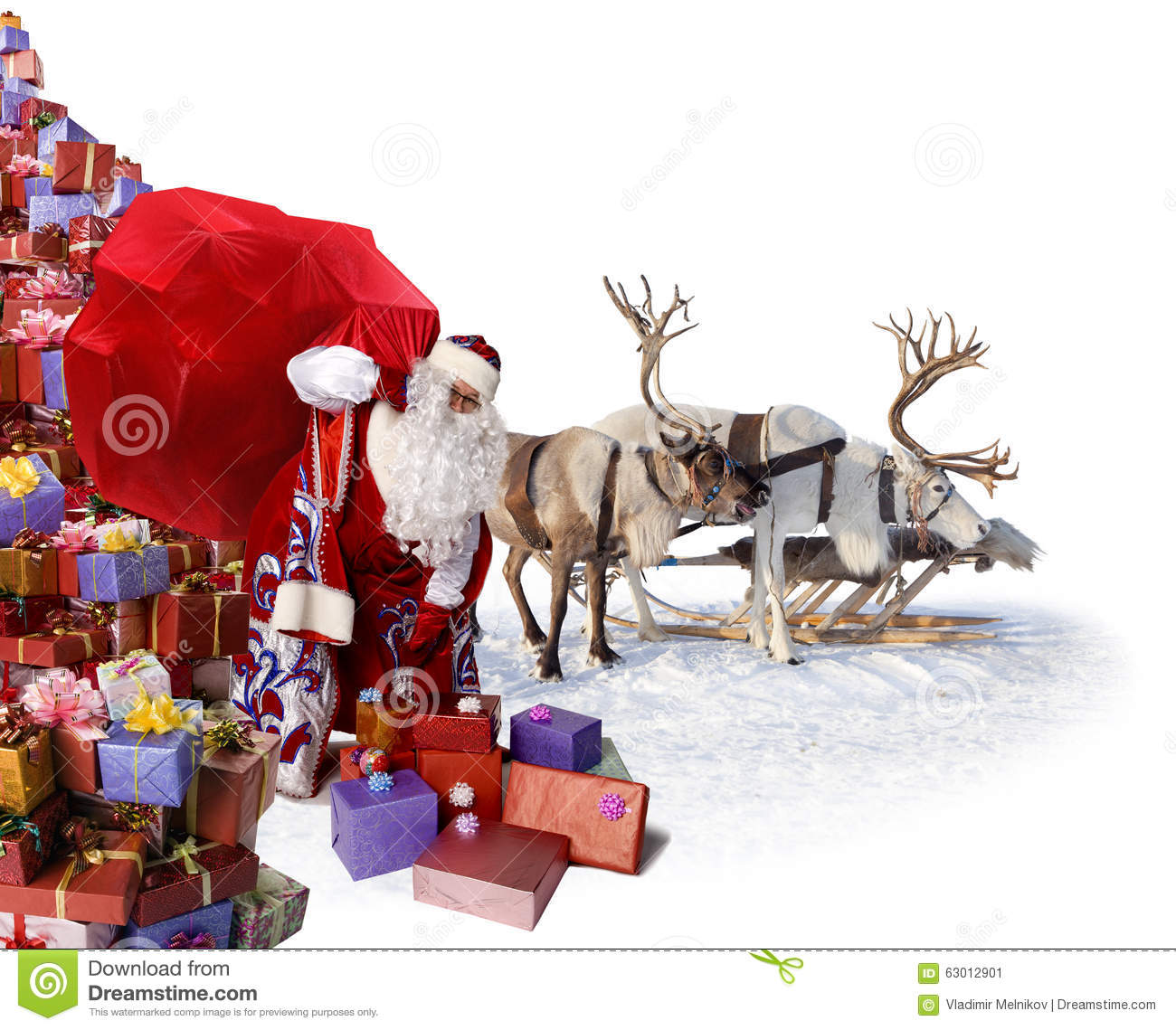Santa Claus And His Reindeer With Ts Stock Image