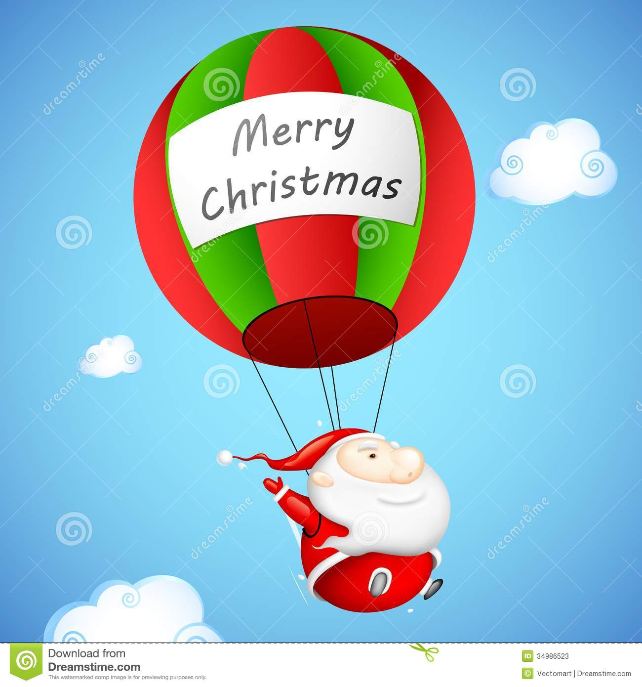 Santa Claus In Parachute Stock Vector Image Of Flying