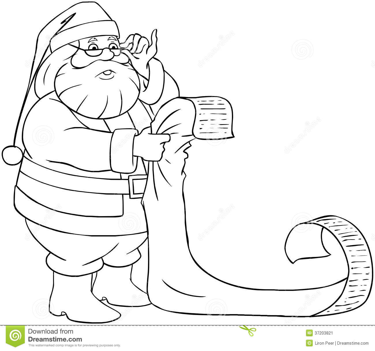 Santa Claus Reads From Christmas List Coloring Pag Stock