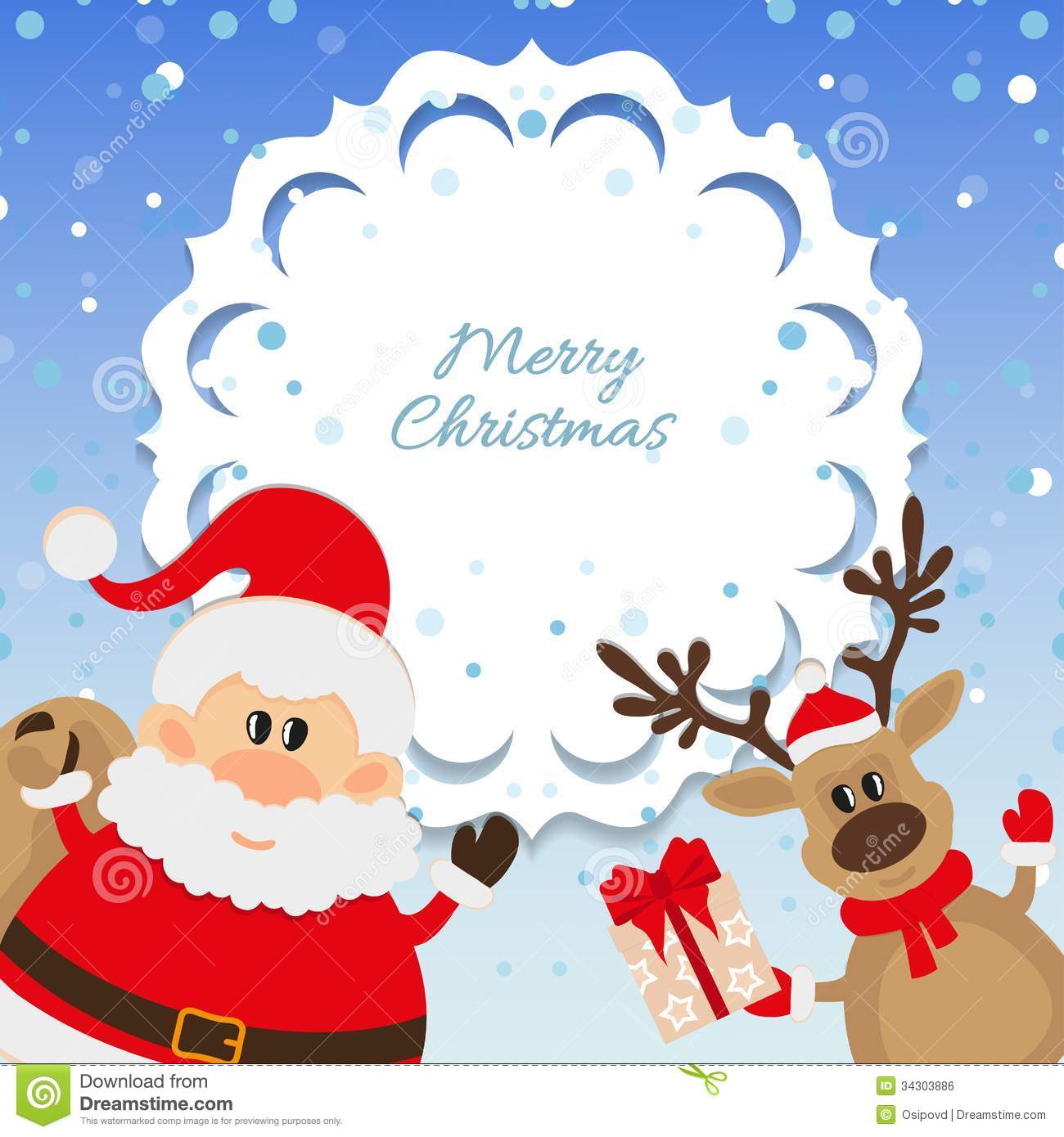 Santa Claus And Reindeer Background For Christmas Royalty