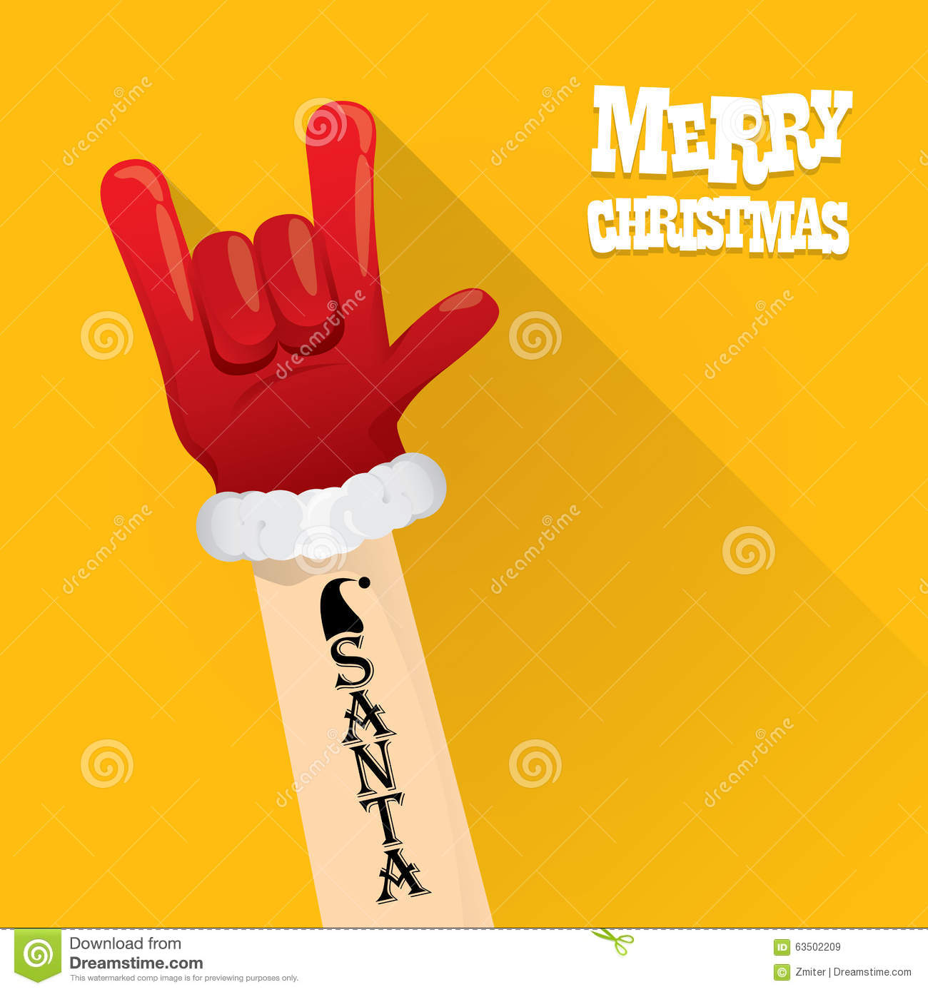 Santa Claus Rock N Roll Gesture Icon Vector Stock Vector