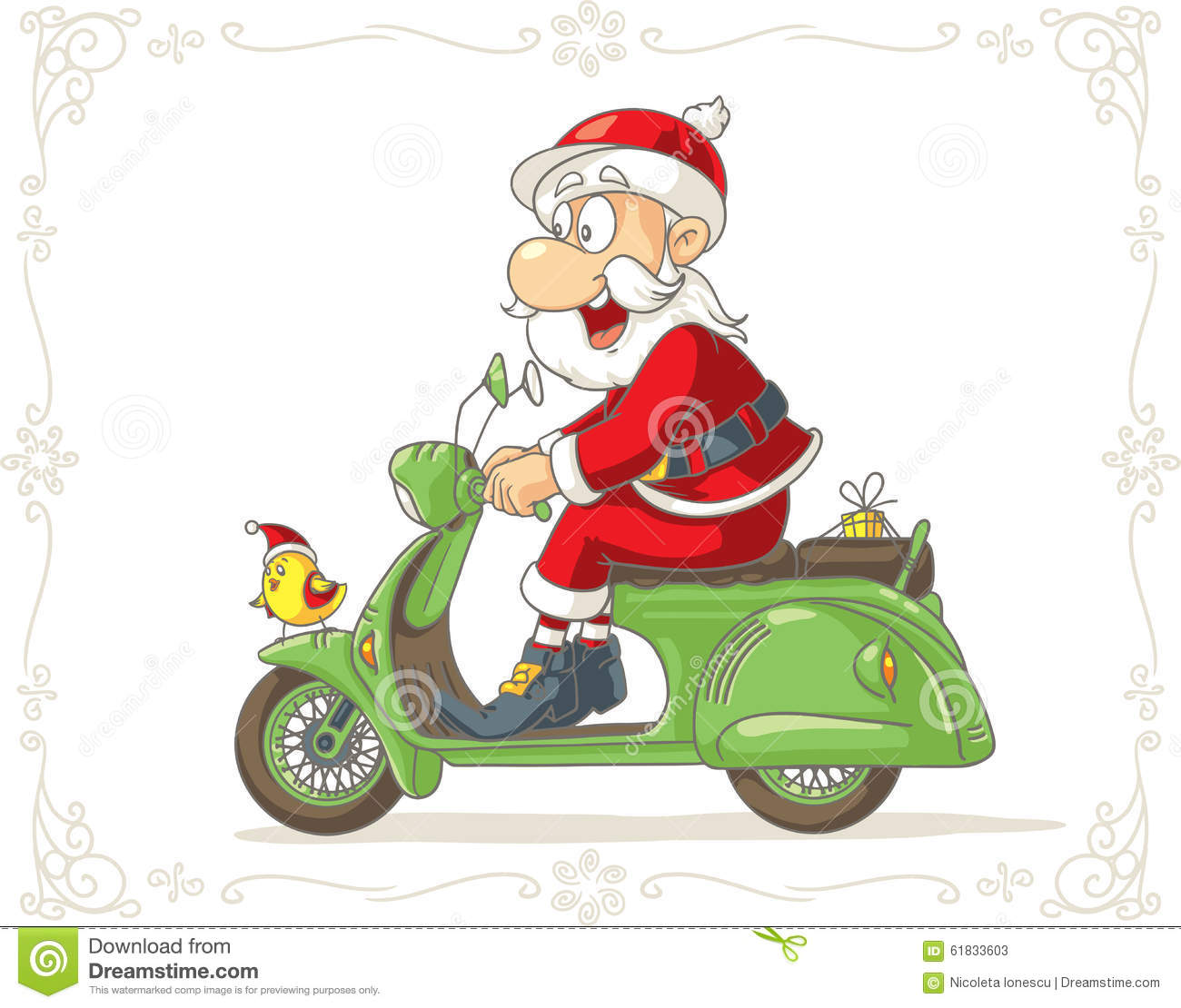 Santa Claus On A Scooter Vector Cartoon Stock Vector