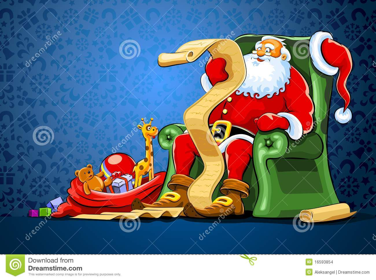 santa claus chair stool for dressing table sitting in with sack of gift stock