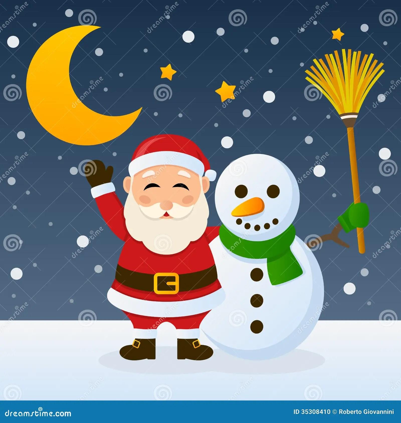 Cartoon Santa And Snowman Wwwpixsharkcom Images