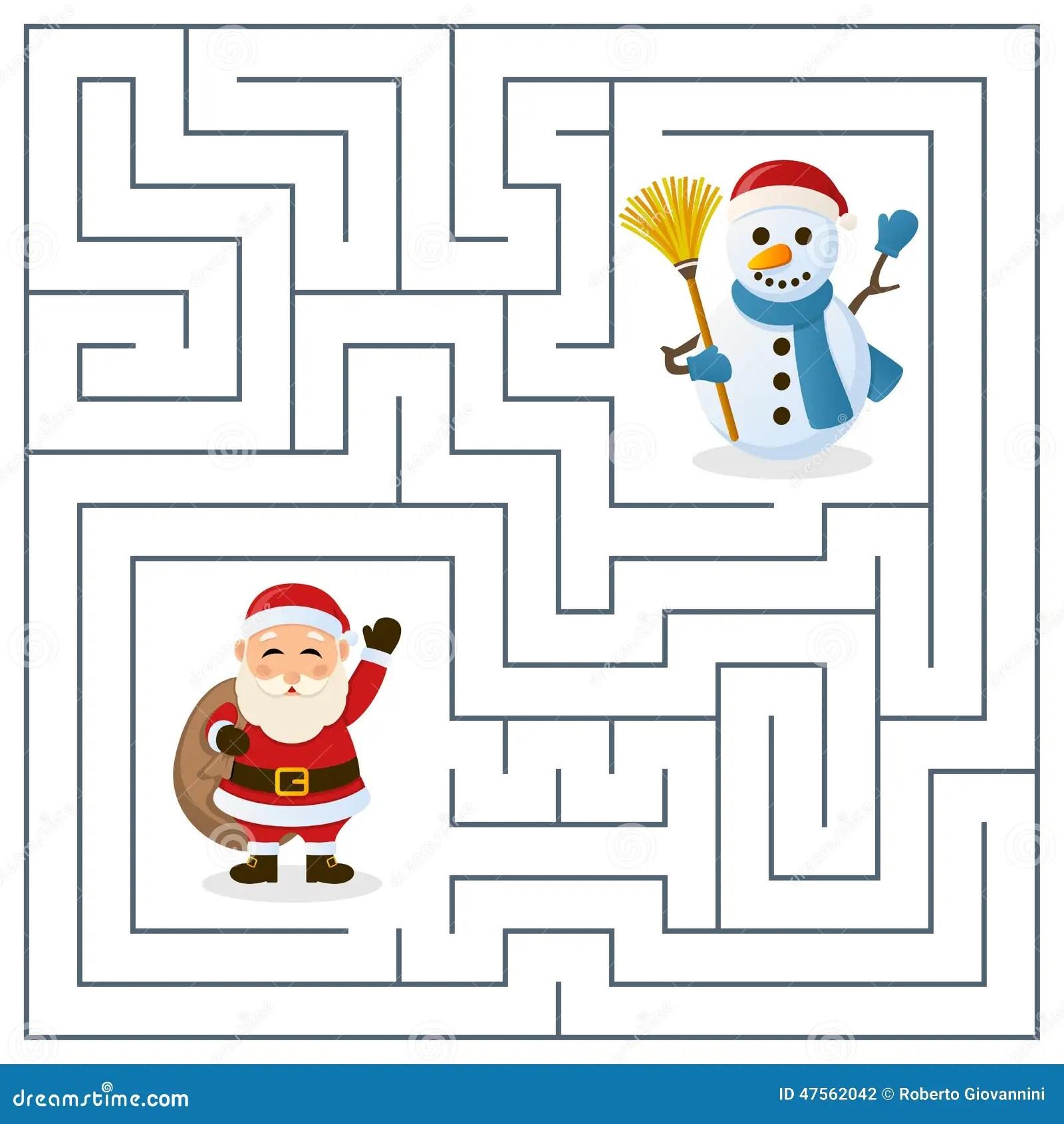Santa Claus Amp Snowman Maze For Kids Stock Vector