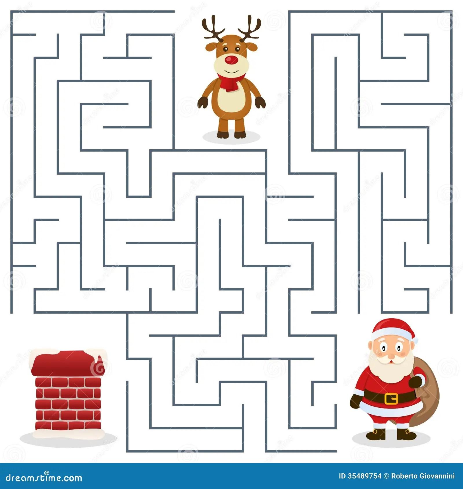 Santa Claus U Kamin Labyrinth Fur Kinder Stockbilder