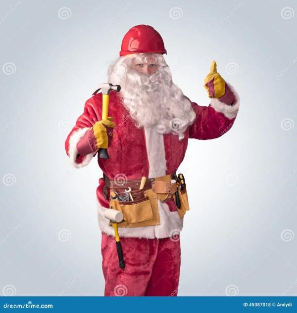 Santa Claus Worker In Helmet With Hammer Stock