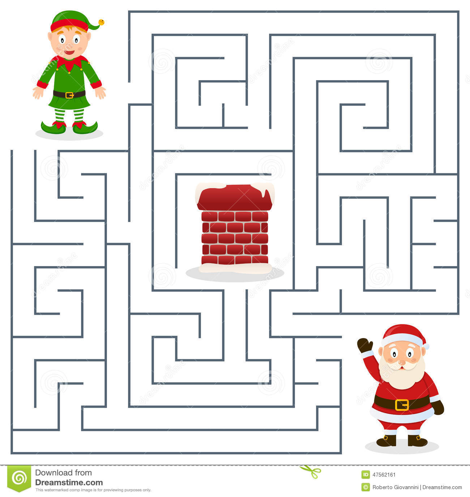 Santa Claus Y Laberinto Del Duende De La Navidad Para Los Ninos Ilustracion Del Vector
