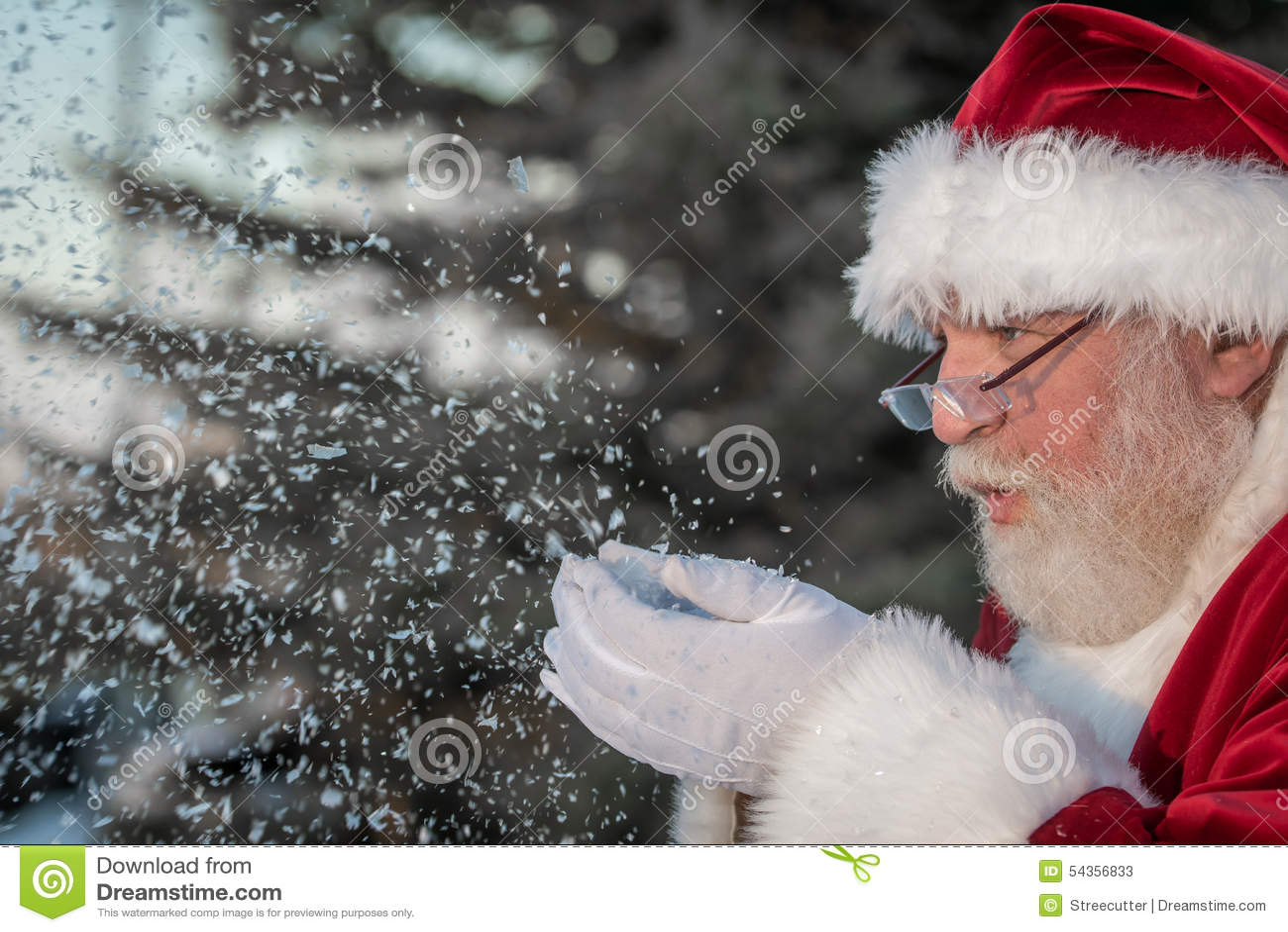 Santa Clause Blowing Snow Stock Photo Image 54356833