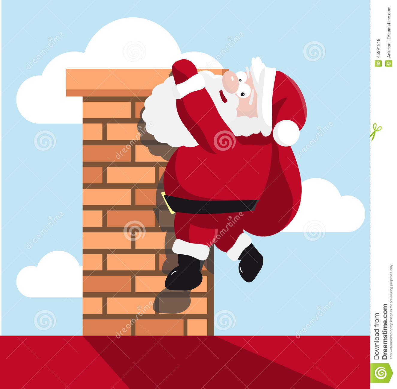 Santa Hanging On The Chimney Stock Vector