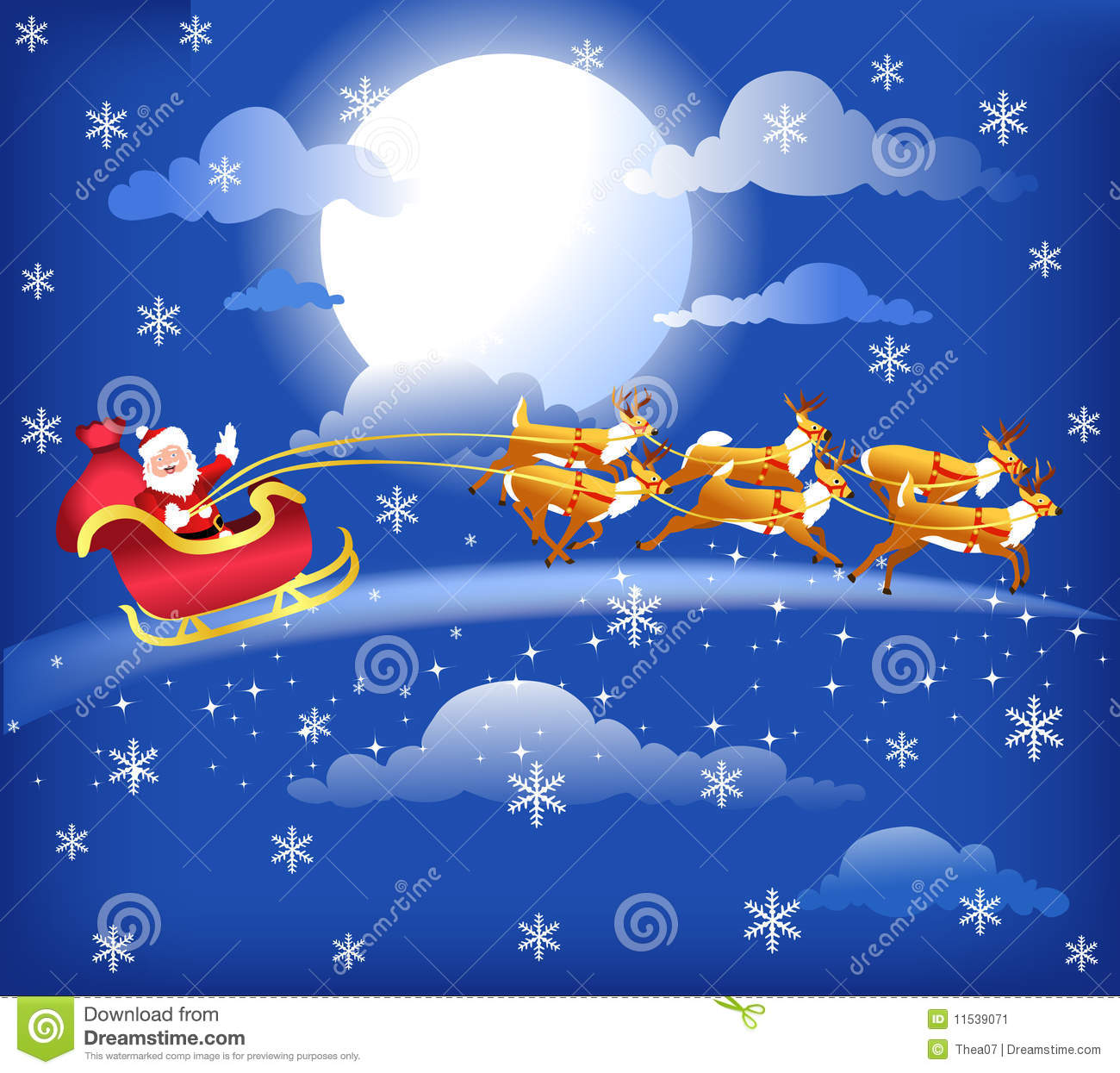 Cute Notepad Wallpaper Santa In His Sleigh With His Reindeer Stock Image Image