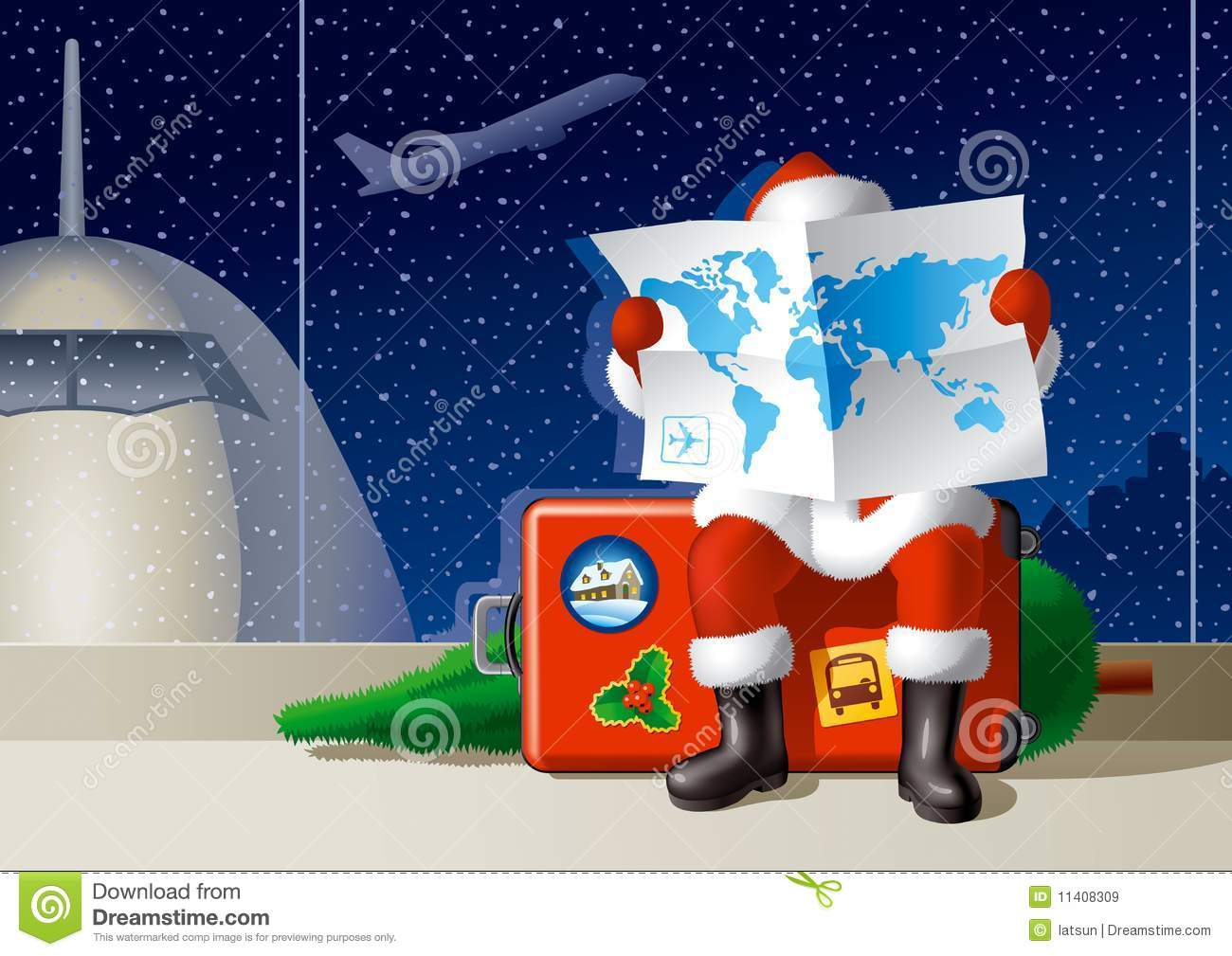 Santa S Christmas Travel Stock Vector Illustration Of