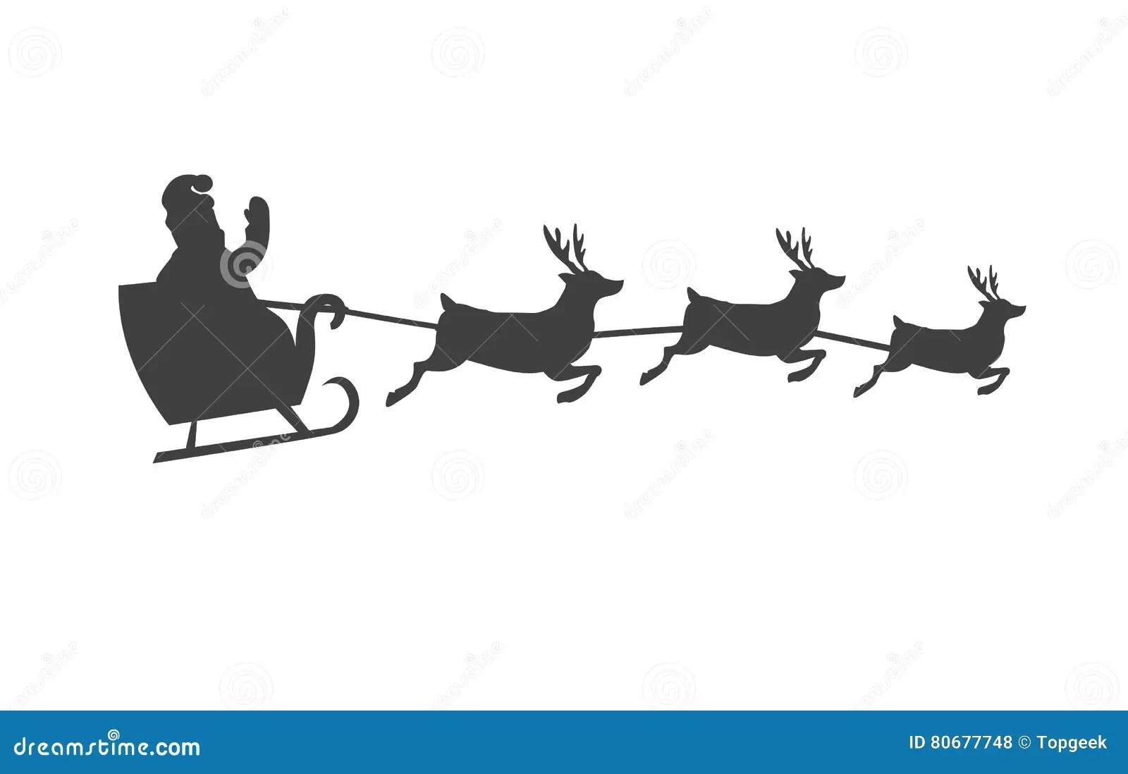 Santa S Sleigh With Reindeer Vector Silhouette Stock