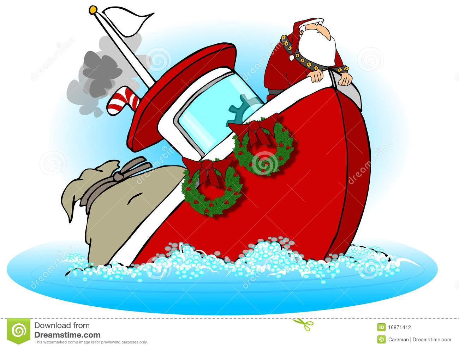Santa On A Sinking Boat Stock Photography Image 16871412