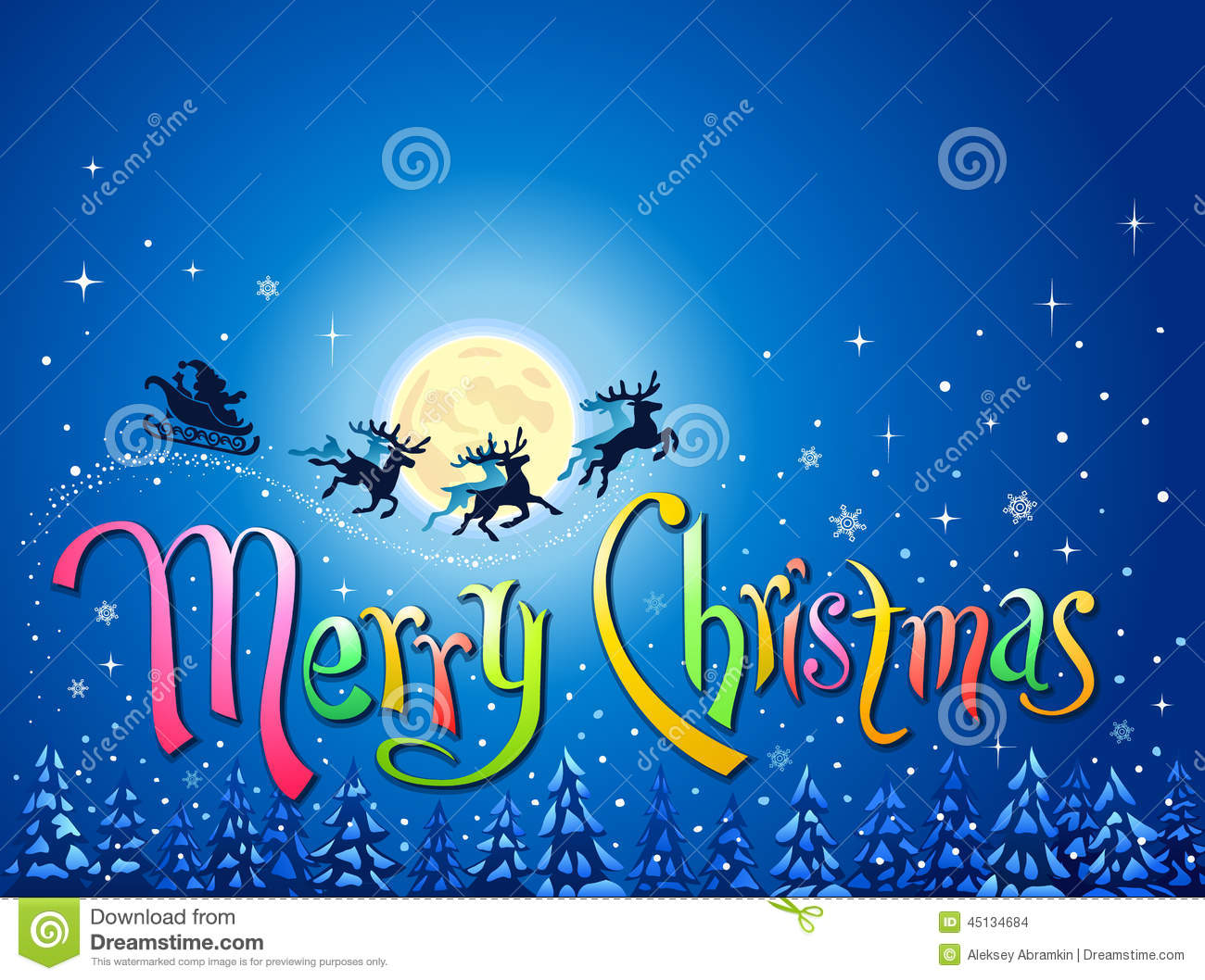 Santa In Sleigh With Reindeer Silhouettes Flying In Blue Sky With Stars And  Snowflakes Over Snow Covered Pine Trees And The Words Merry Christmas.