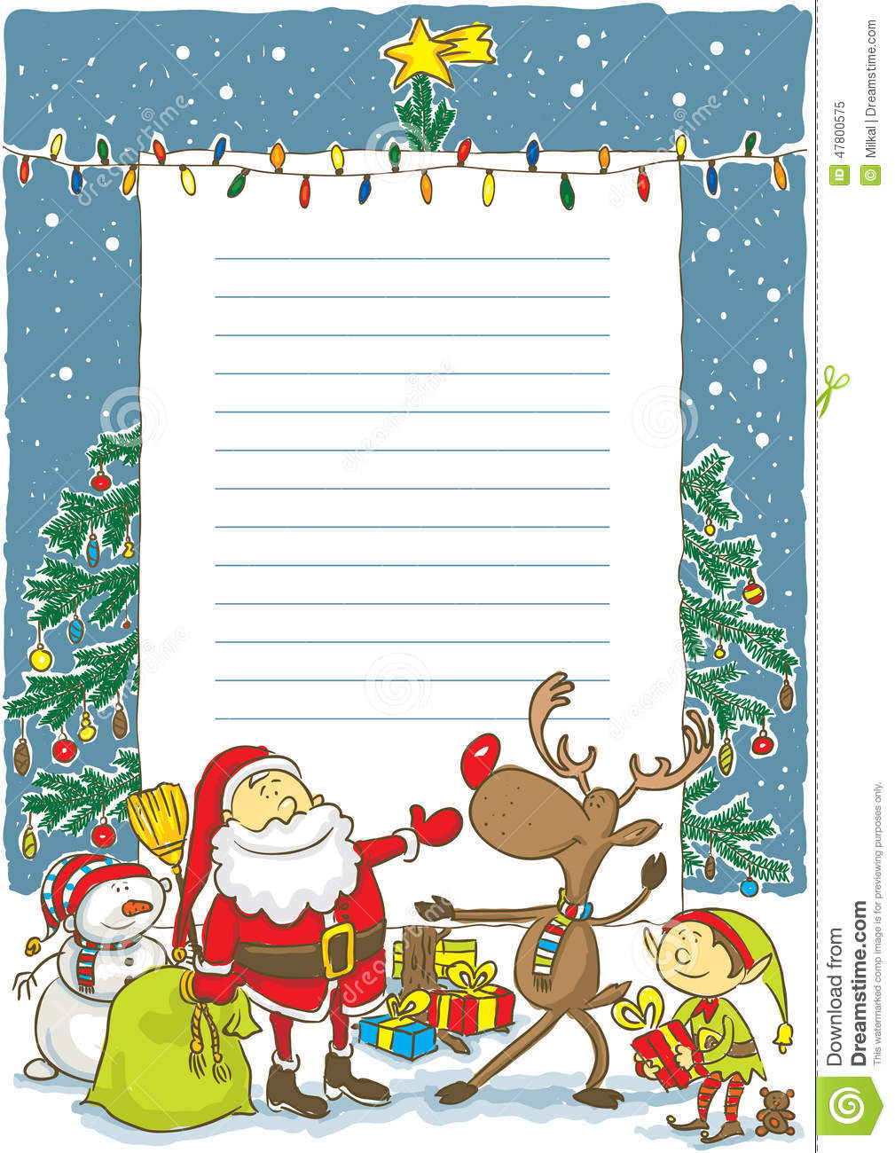Santa With Wishlist Illustration Stock Vector