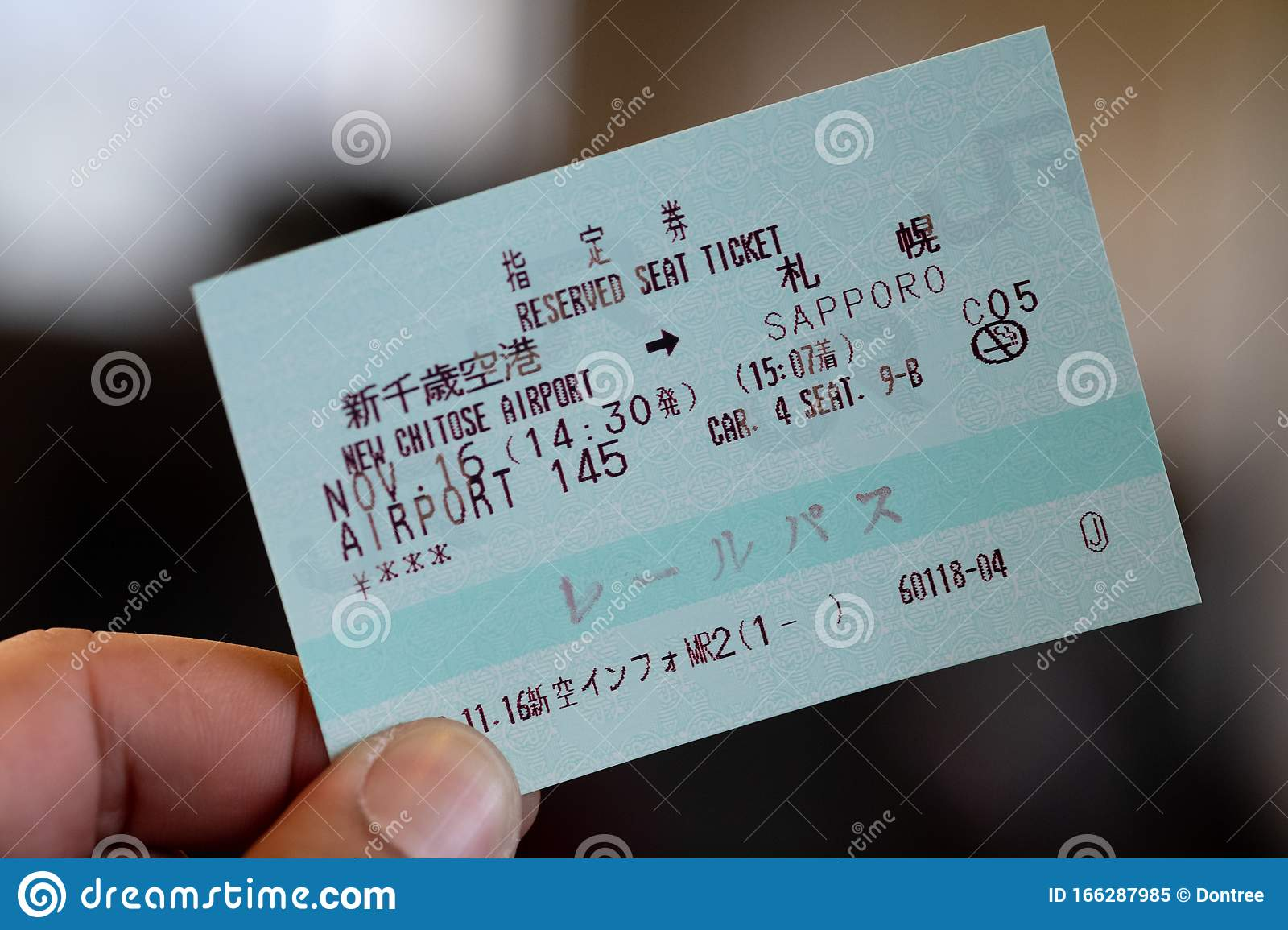 Sapporo. Japan - November 16. 2019 : Person Holding A JR Rails Train Ticket To Use All The JR Network In The Country Editorial Image - Image of ...