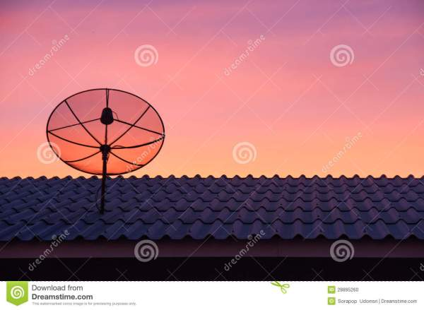 Satellite Dish In Sunset Sky Stock - 28895260