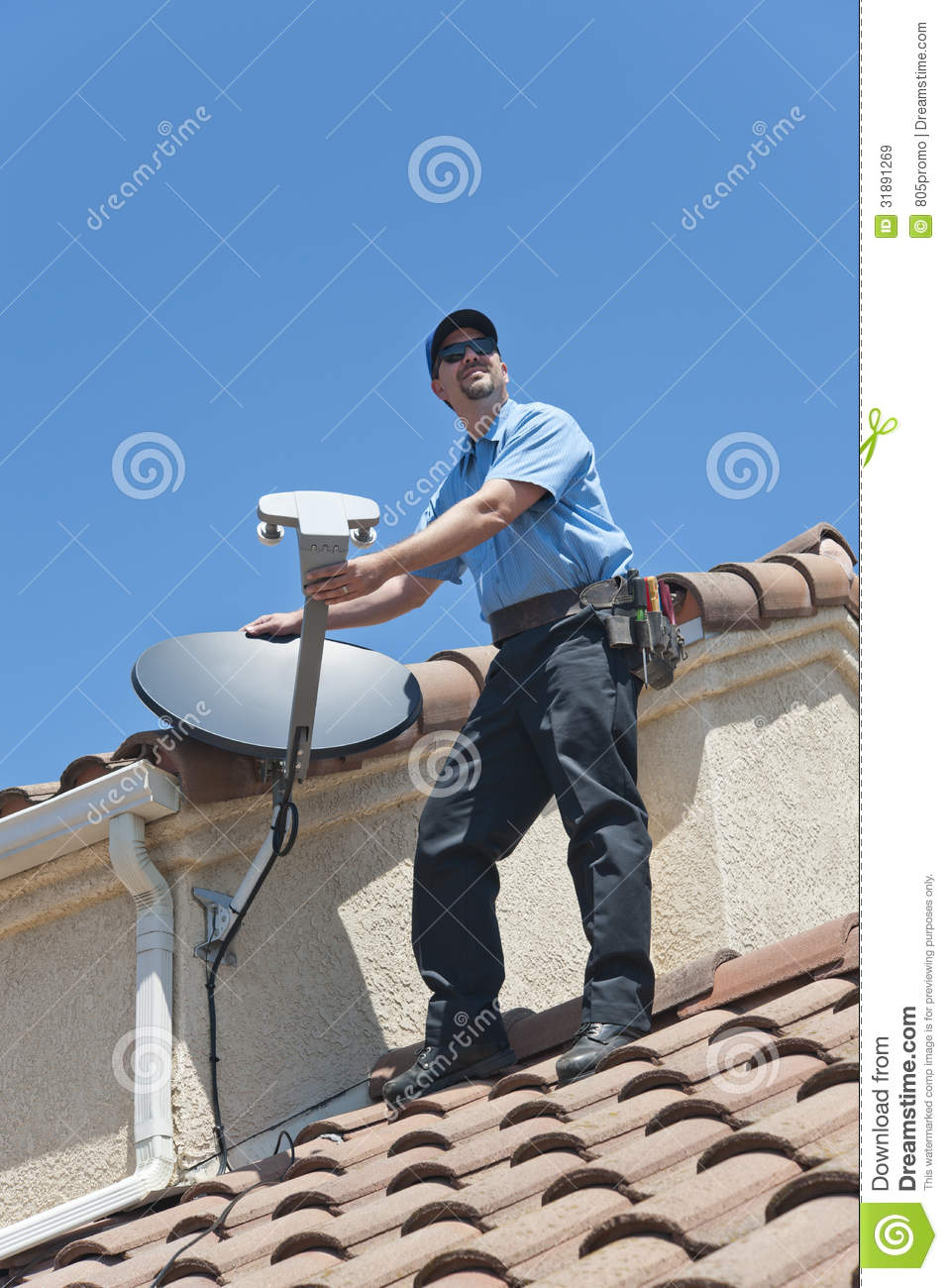Satellite Installer On Roof Royalty Free Stock Images  Image 31891269