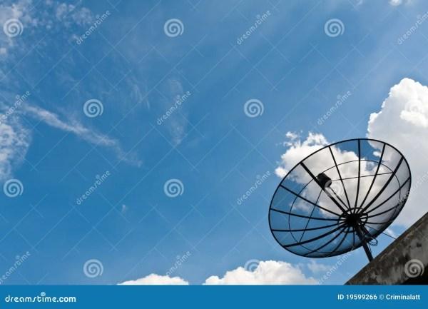Satellite Receiver Pointing Sky Royalty Free