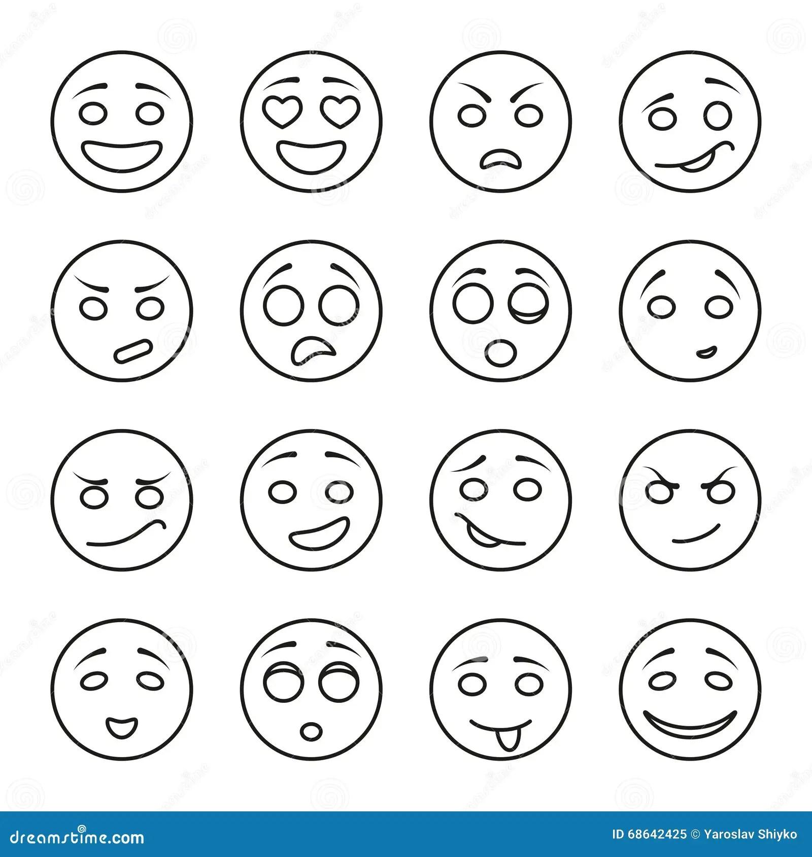 Satz Emotionale Gesichter Auf Einem Wei En Hintergrund