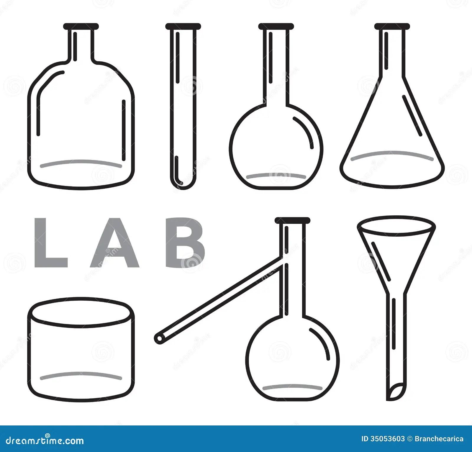 Satz Laborausstattung Vektor Abbildung Illustration Von