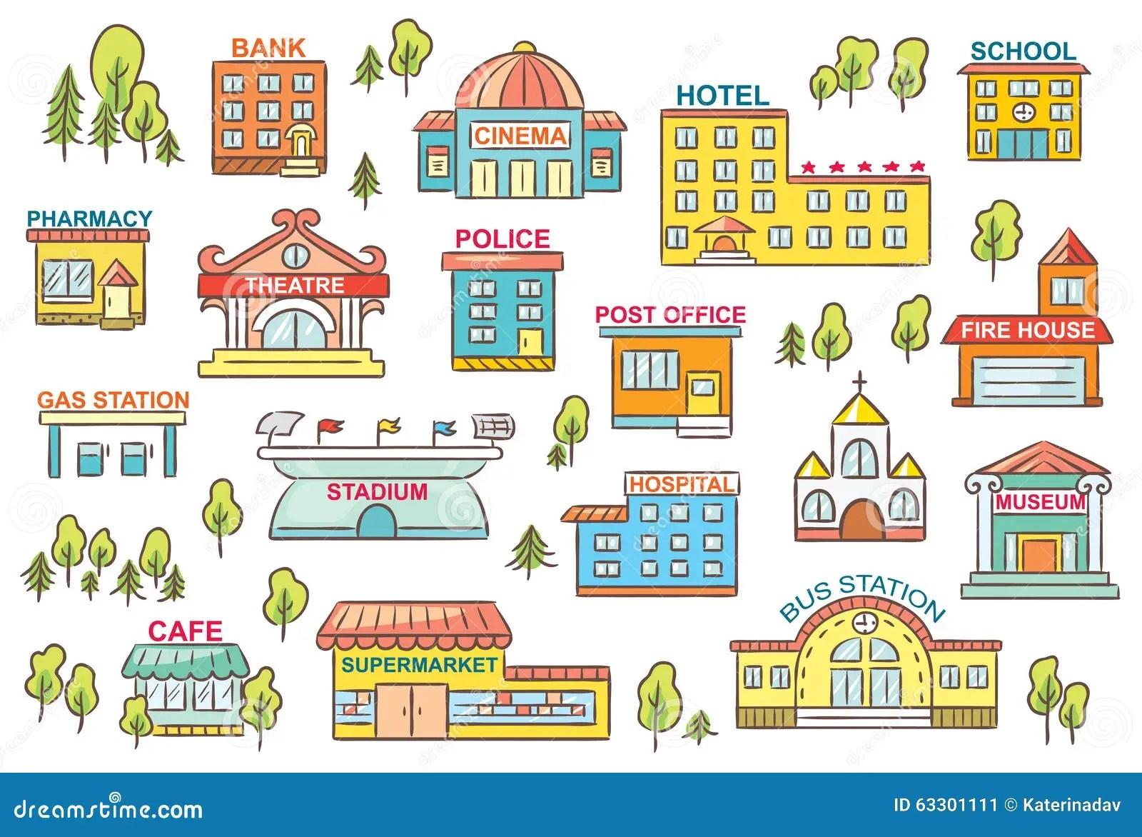 Satz Stadt Gebaude Vektor Abbildung Illustration Von