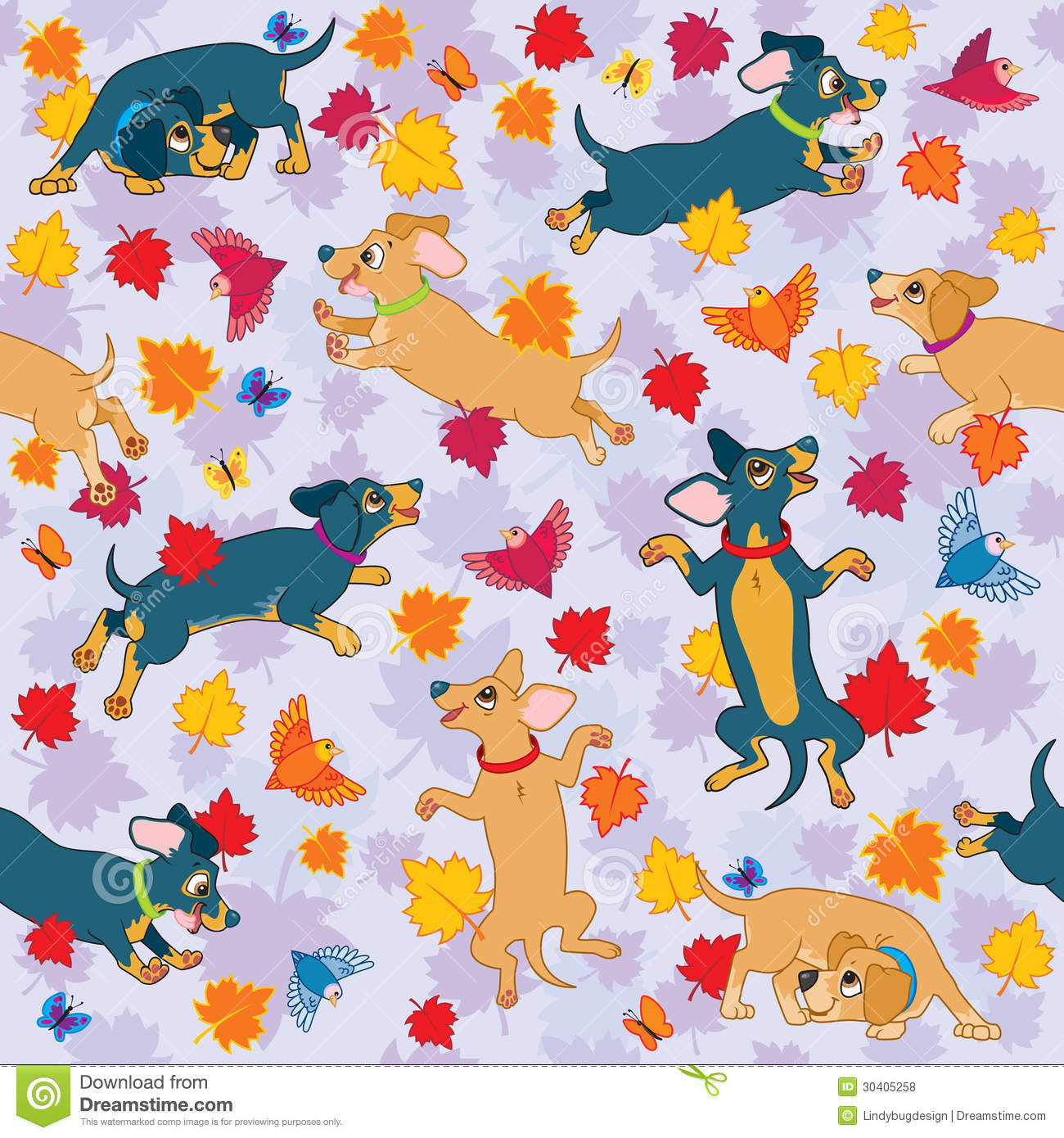 Snoopy Fall Wallpaper Sausage Dogs Love Fall Wallpaper Pattern Stock Vector
