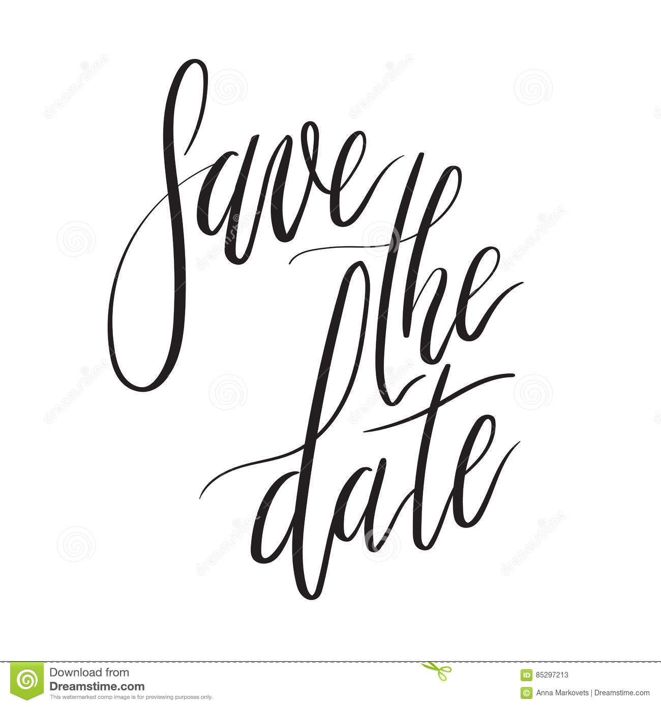 Save The Date Hand Lettering Card Wedding Invitation With